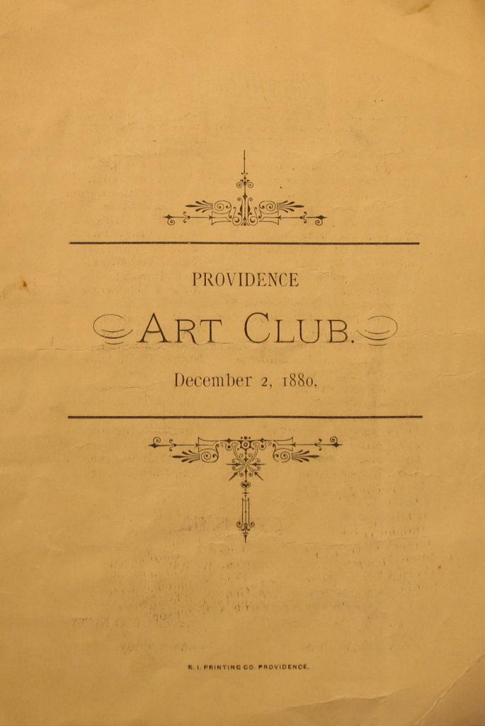 Providence Art Club Catalogue for Dec. 1, 1880, cover