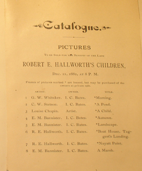 THUMBNAIL - 1882, December 21, Catalogue of Pictures to benefit Robert E. Hallworth's Children
